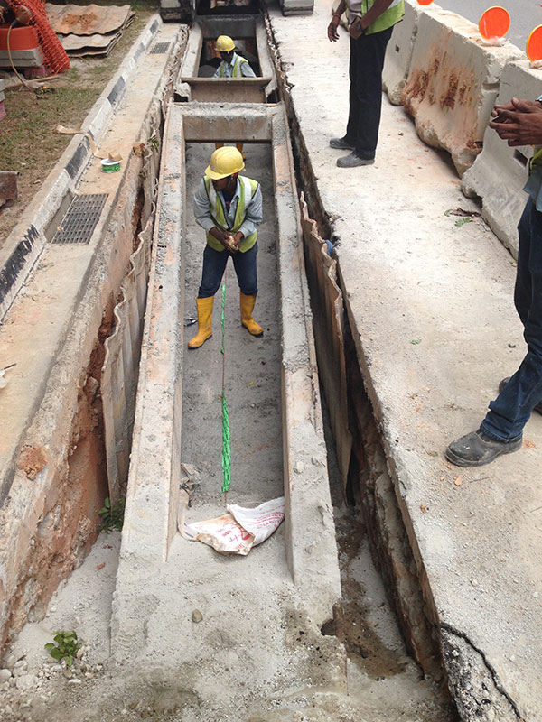 FO cable laying above concrete slabs